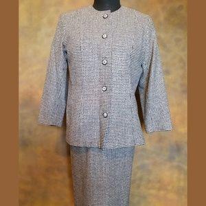 Dresses & Skirts - VTG 80s Wool Skirt Suit with Metallic Threading 14